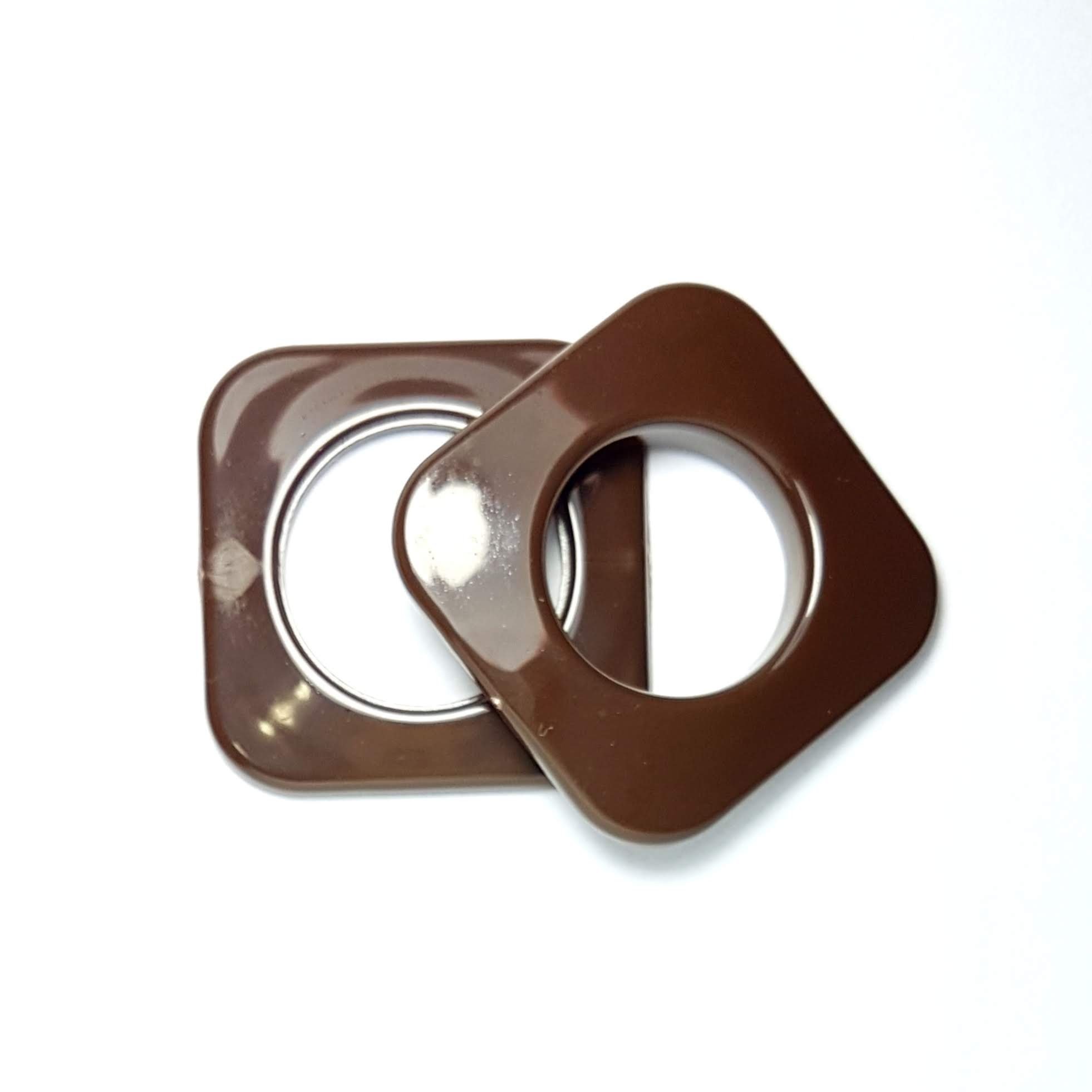 Ilhós de Plástico 19mm - Quadrado Marrom - c/ 10 Pares