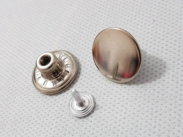 Botão fixo de ferro 15mm Eberle - c/ 5 Unid - Niquelado