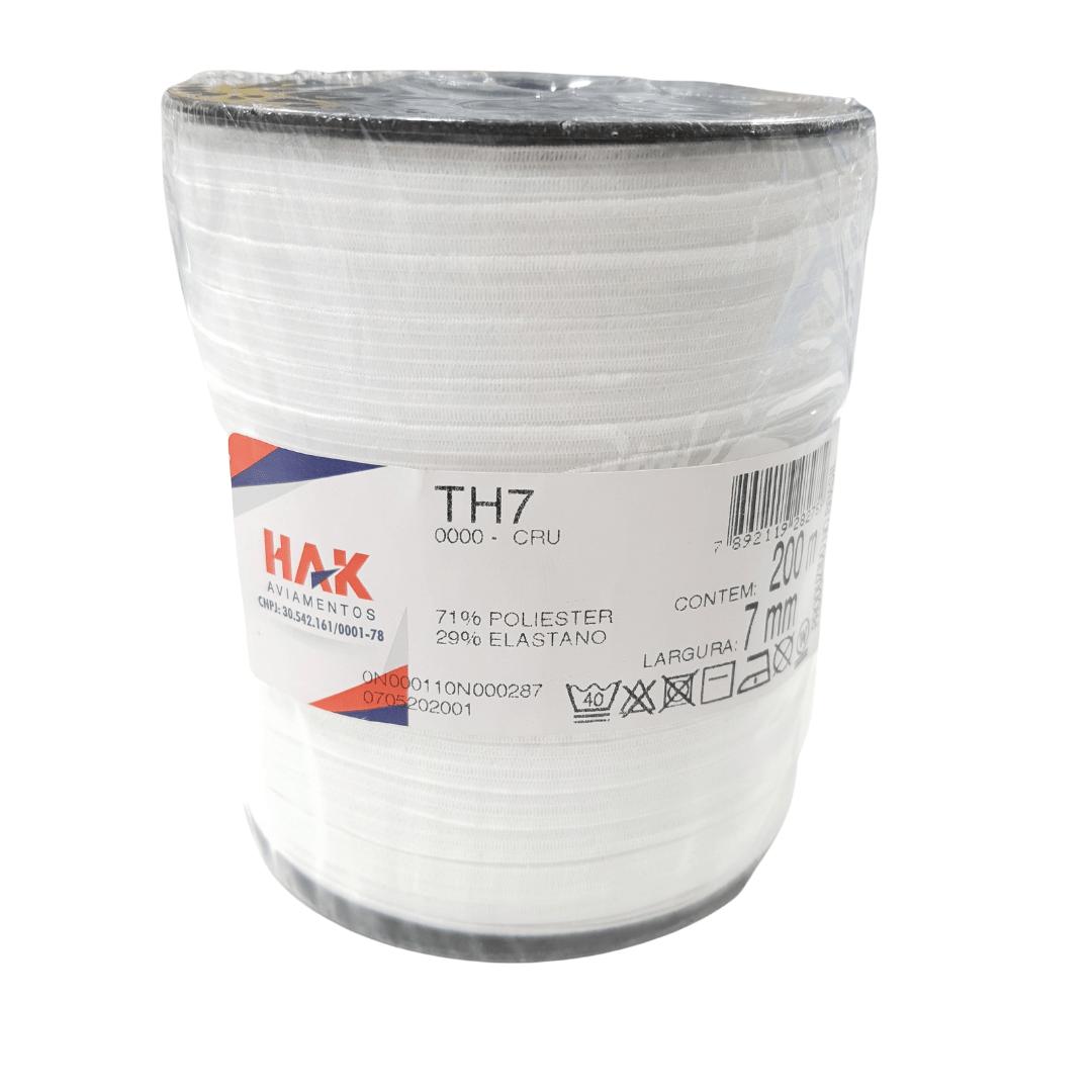 Elástico Branco 7mm Hak Rolo Com 200m