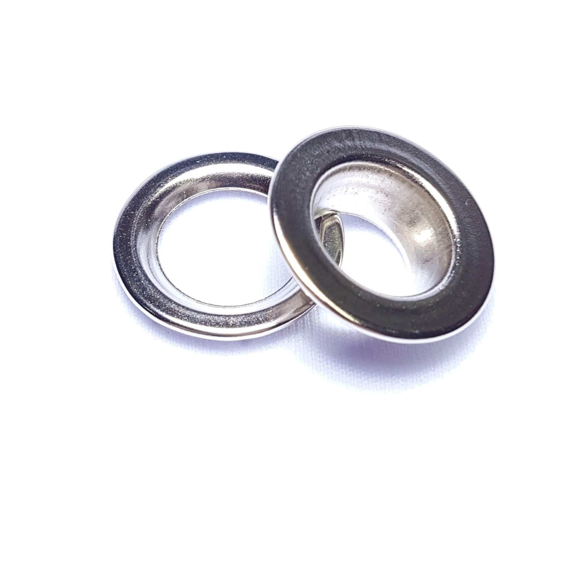Ilhós de ferro arruela com garra n.º 3 - Niquelado - Pcte c/ 10 unid