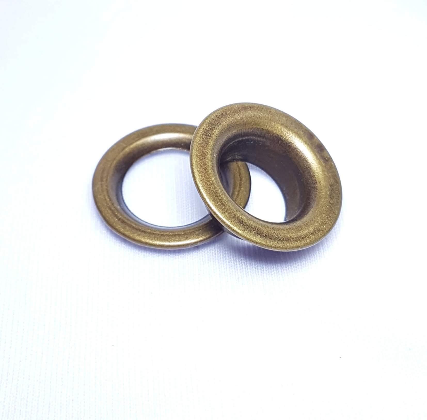 Ilhós de ferro arruela com garra n.º 3 - Ouro Velho - Pcte c/ 10 unid