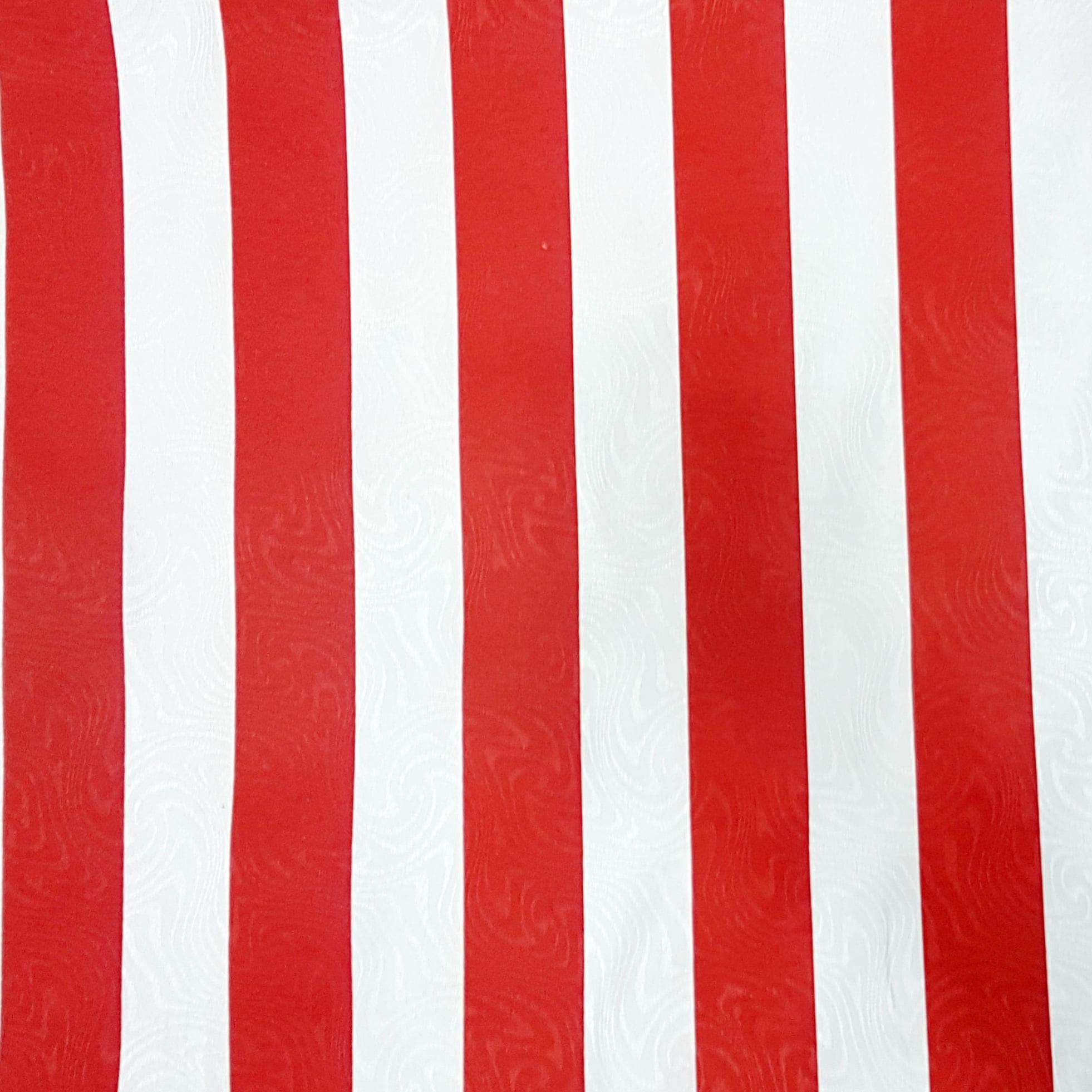 Tecido Jacquard Listrado Vermelho e Branco - 1.40m de Largura