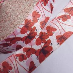 Alça de Poliéster Acetinada 40mm - Flor Vermelha
