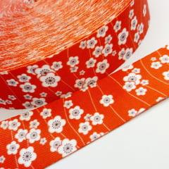 Alça de Poliéster Acetinada 40mm - Floral