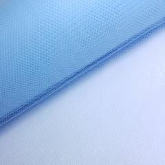Tule Azul Claro Largura 120cm 100% Poliéster