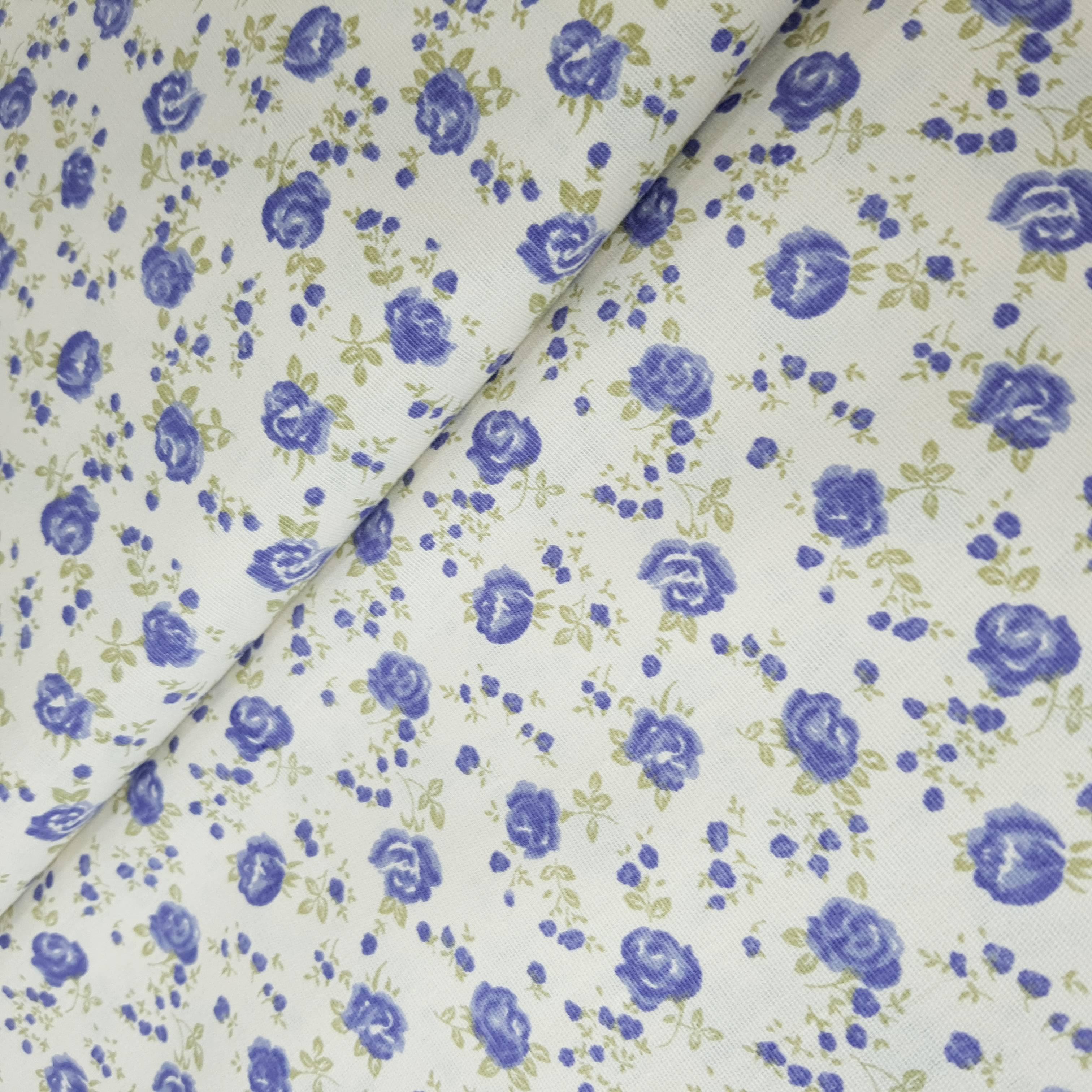 Tricoline 100% Algodão - Floral Rosas Azul